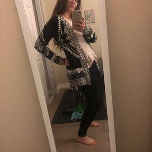 Aztec pattern fall sweater cardigan